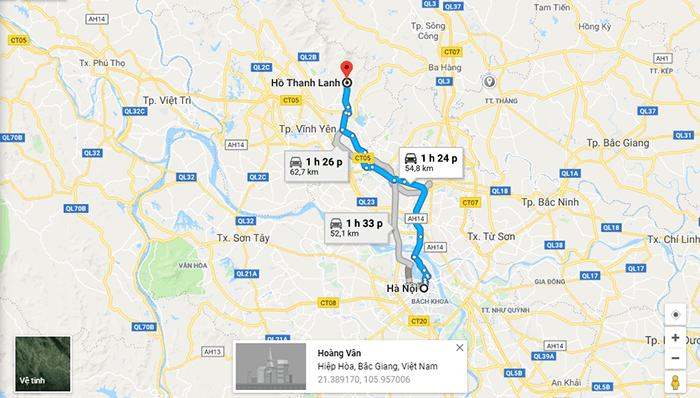 Bản đồ đường đi hồ Thanh Lanh từ Hà NỘi