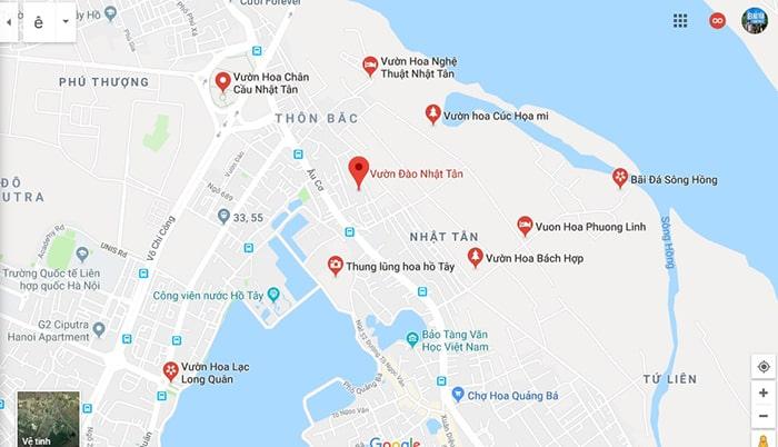 Bản độ vị trí vườn đào Nhật Tân