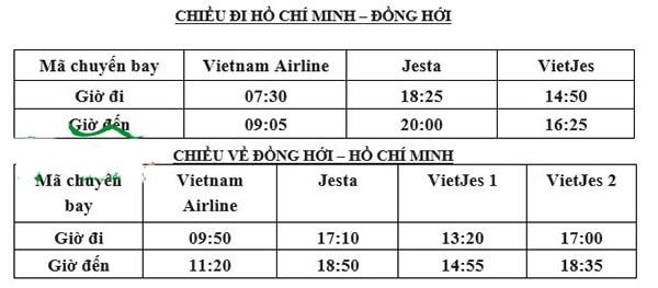 Các chuyến bay chặng TP.HCM - Đồng Hới