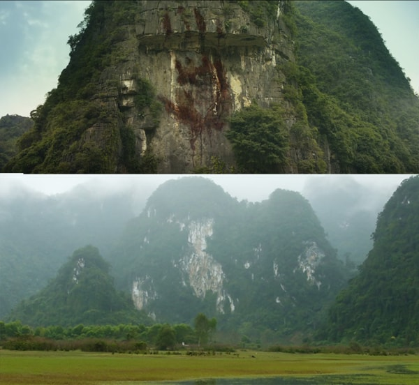 Cảnh phim ấn tượng với dấu bàn tay của King Kong in trên vách núi đá