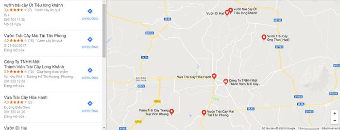 Bản đồ các vườn trái cây khác ở Đồng Nai