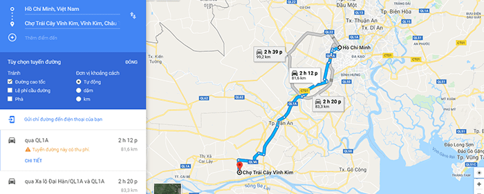 Đường đi vườn trái cây Vĩnh Kim, Tiền Giang