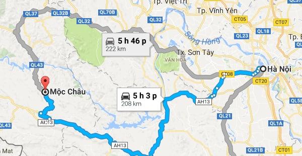 Đường từ Hà Nội đi Mộc Châu