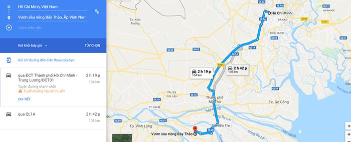 Đường đi vườn trái cây Cái Mơn, chợ Lách, Bến Tre