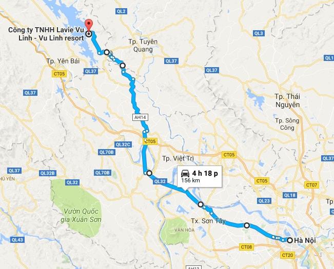 Từ Hà Nội, theo QL 32 lên Ngòi Tu