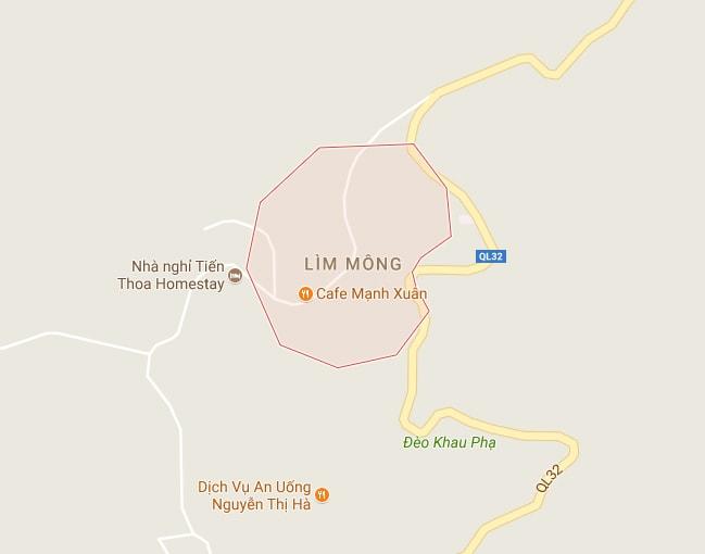 Vị trí bản Lìm Mông - Cao Phạ - Mù Cang Chải - Yên Bái