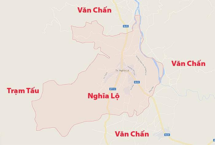 Vị trí địa lý Thị xã Nghĩa Lộ