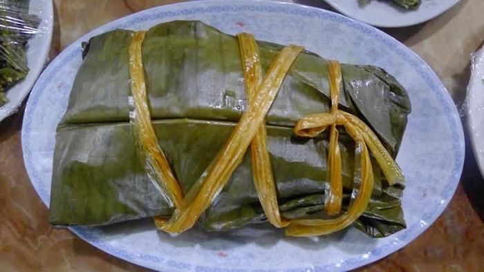 Đặc sản thịt lợn xay hấp lá chuối Điện Biên