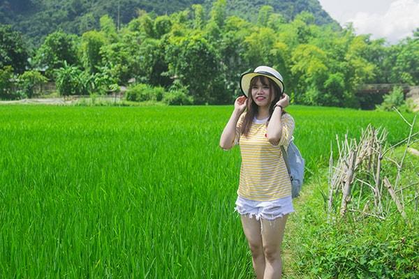 Bạn có thể đi xuống các thửa ruộng và chụp ảnh giữa những cánh đồng xanh mát