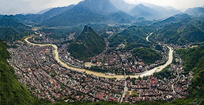 Thành phố Hà Giang nhìn từ trên cao