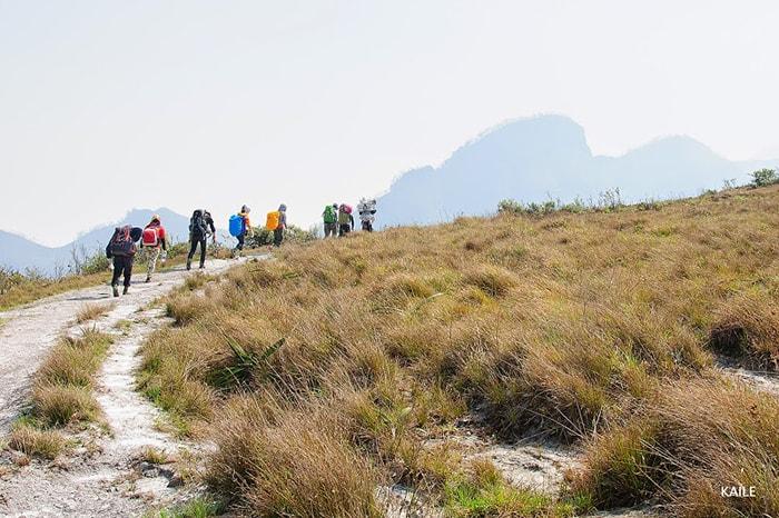 Lối mòn băng qua thảo nguyên trên đường trekking Lảo Thẩn
