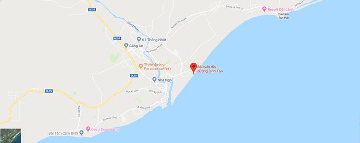 Bản đồ các bãi biển ở thị xã LaGi