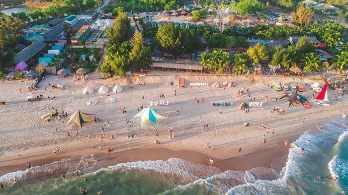 Bãi biển Coco BeachCamp nhìn từ trên cao