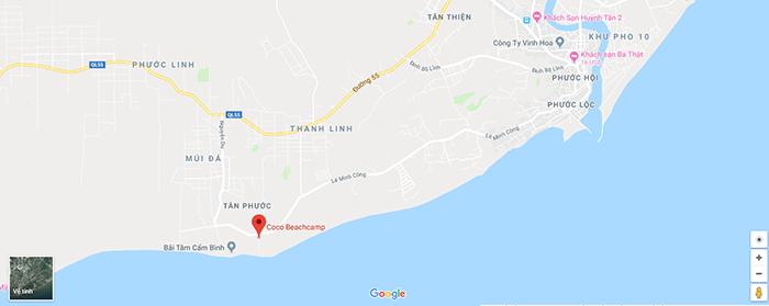 Bản đồ Coco beach Camp LaGi