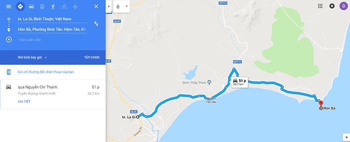 Cung đường từ thị xã LaGi ra đảo Hòn Bà