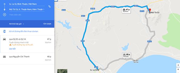 Cung đường từ thị xã LaGi đến Núi Tà Cú