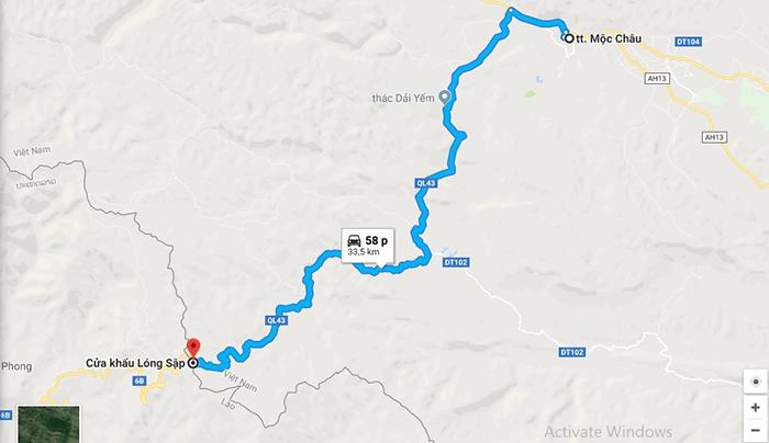Cung đường từ thị trấn Mộc Châu ra cửa khẩu Lóng Sập và chợ Lào